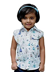 Snowflakes Girls' 2 - 3 Years Cotton Casual Shirt (White with Multicolour)