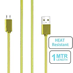 small candy Nylon Braided Micro USB Cable with Super fast charging up to 2.4Amps For Oppo Joy Plus -Yellow
