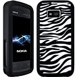 Wayzon Nokia 5530 XpressMusic Case Cover Skin Pouch Silica Rubber With Black And White Zebra Pattern On Back