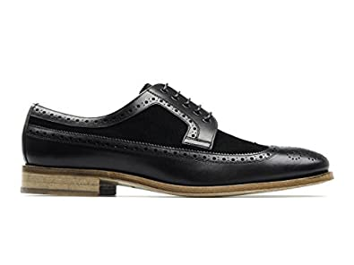 MONK CATANIA Leather Brogue Shoes Black UK 7
