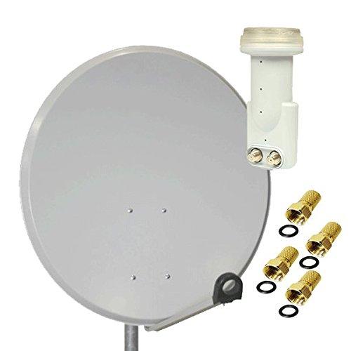 Antenne PremiumX SAT Schüssel Spiegel 80 cm Alu, PXA-80 Hellgrau Aluminium Digitale Sat Anlage FullHD HDTV + LNB Twin 0,1 dB He@d Blue Series LNB FULLHD 3D + 4x F-Stecker 7mm Vergoldet Gratis dazu !!!