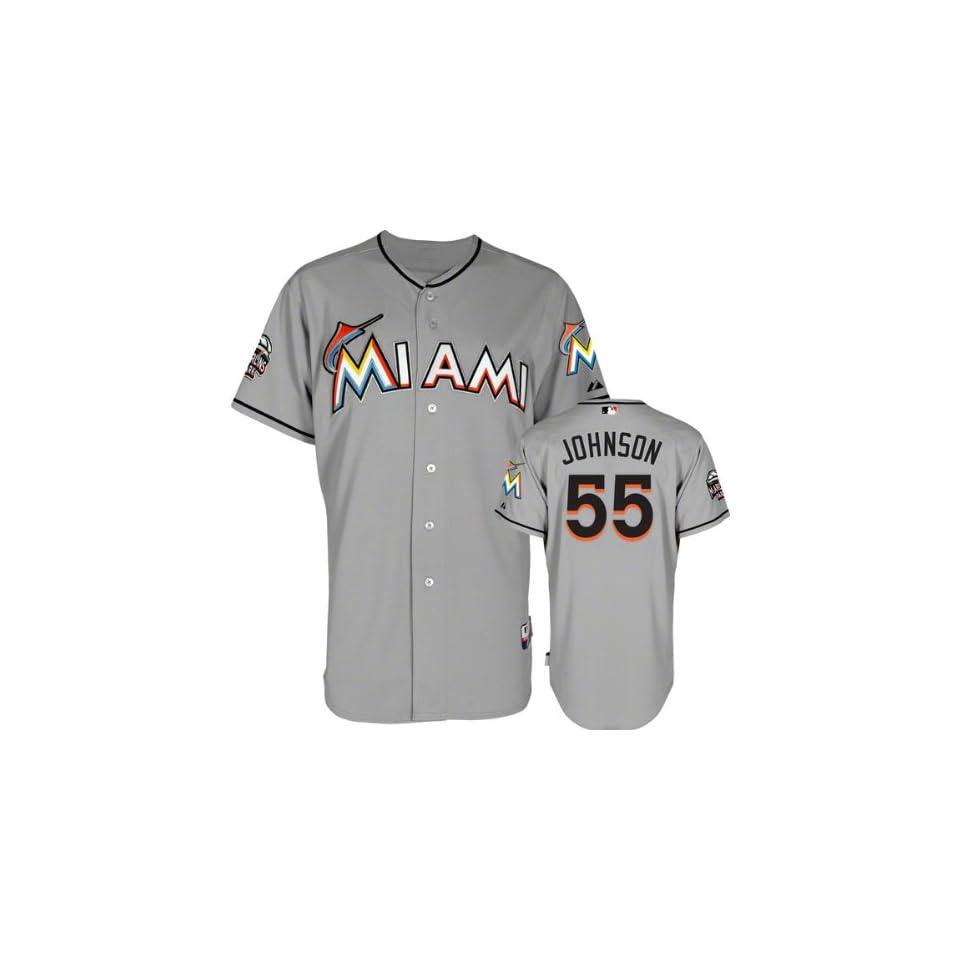 7e24f34e7f4 Josh Johnson Jersey Miami Marlins  55 Road Grey Authentic Cool on ...