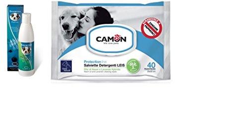 Shampoo igenizzante ingenya & Camon salviette all'olio di neem e lavanda per cani