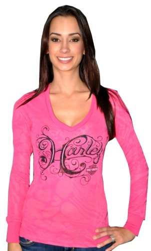 Harley-Davidson® Womens Scripty Pleasure V-Neck Burnout Pink Long Sleeve Thermal (X-Small)