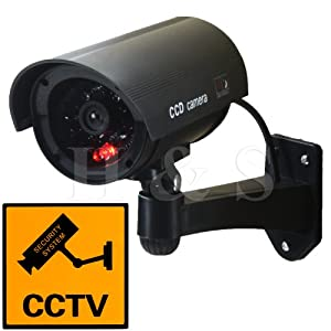 H&S® Fake Dummy CCTV Security Camera Flashing LED Indoor Outdoor - Black