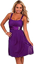 Sleeveless Rhinestone Empire Waist Sheer Layer Evening Cocktail Party Dress