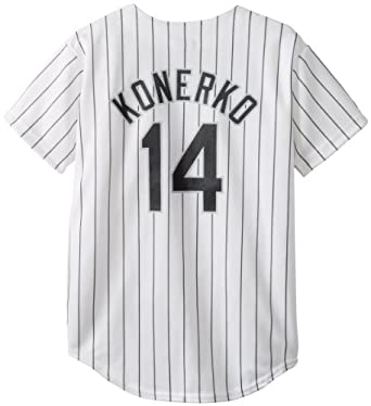 MLB Chicago White Sox Paul Konerko Home Replica Youth Jersey, White Black by Majestic