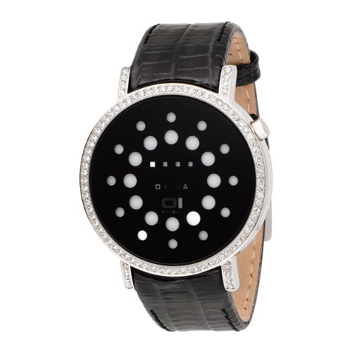 01TheOne Women's ORS502W1 Odins Rage Crystal Accented White LED Leather Watch