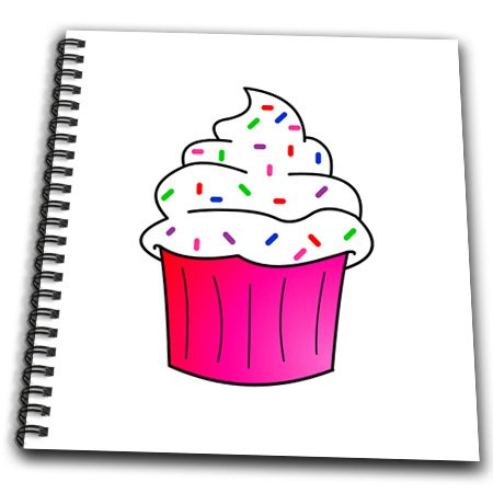 Db_43137_1 Janna Salak Designs Sweet Treats - Yummy Pink Cupcake Cartoon White Frosting With Sprinkles - Drawing Book - Drawing Book 8 X 8 Inch