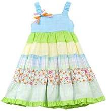 Rare Editions Little Girls39 Turquoise Lime Mixed Print Seersucker Dress 6X