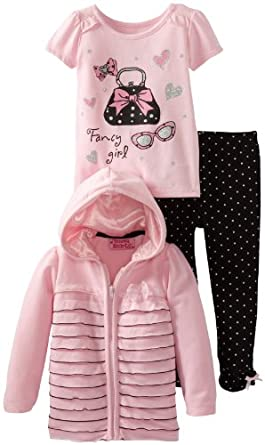 Young Hearts Little Girls' 3 Piece Polka Dot Tack Bow Jackethood and Pant Set, Pink, 4T