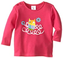 Zutano Baby-girls Infant Owls Nest Screen Long Sleeve T-Shirt, Fuchsia, 6 Months