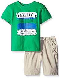 Nautica Little Boys\' Two Piece Graphic Tee with Solid Bottom, Lime Green, 2T