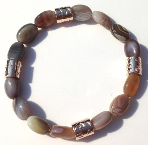 Jubel & Stern, lhigh quality Ladies Stretch Bracelet made   of pearls and love beads huge labradorite, rose gold plated