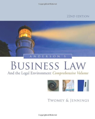 Anderson'S Business Law And The Legal Environment, Comprehensive Volume front-750256