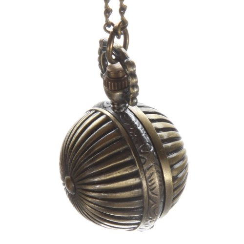 Spherical Style Steampunk Bronze Quartz Pocket Watch Chain Pendant Necklace Gift