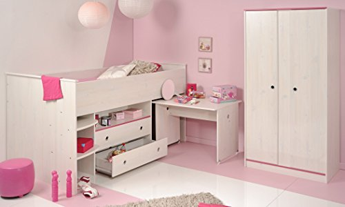 kinderzimmer snoopy 25b kiefer wei hochbett mit schreibtisch kleiderschrank kinderbett. Black Bedroom Furniture Sets. Home Design Ideas