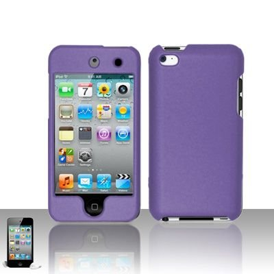 Apple Ipod Touch 4th Generation Lavender Purple Hard Cover Case + Bonus 5.5 inch Baby Blue Phone Cleaning Cloth