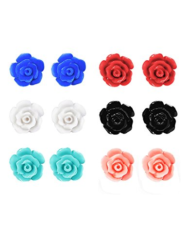 Mudder 6 Pairs Handcrafted Resin Rose Earring Studs (White Resin Earrings compare prices)