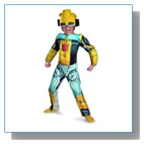 Bumblebee Rescue Bot Toddler Muscle Costume, Yellow/Silver/Blue, Medium