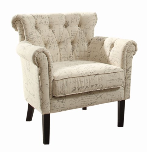 Homelegance 1193F2S Flared Arm Accent Chair, Vintage Print front-965563