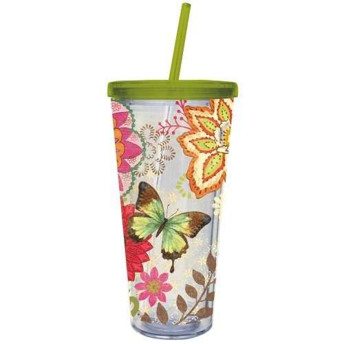 Nature'S Garden Insulated Acrylic Cup With Straw front-666041