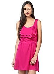 Grain Pink Polyester A-line Short dress for women