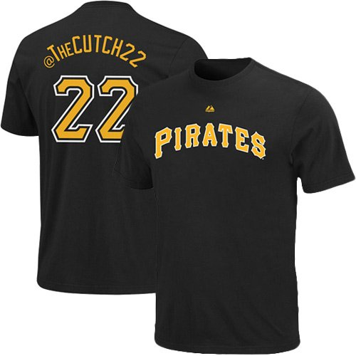 MLB Majestic Andrew McCutchen Pittsburgh Pirates #22 Twitter T-Shirt – Black (Large)