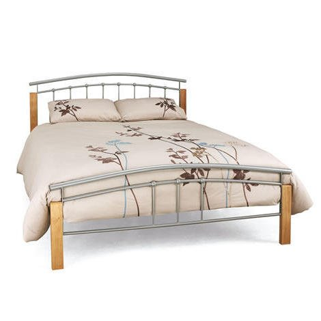 Tetras Silver 5Ft Beech/ Silver King size Bed Frame