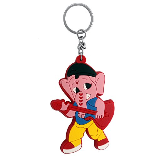 The Marketvilla Single Sided Silicon Keychains Ganesha Ganesh Cartoon Rubber God Ganpati Keychain With Metal Ring For Kids, Boys & Girls  available at amazon for Rs.110