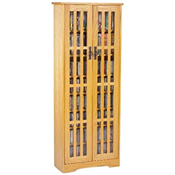 Leslie Dame M-477 High-Capacity Inlaid Glass Mission Style Multimedia Storage Cabinet, Oak