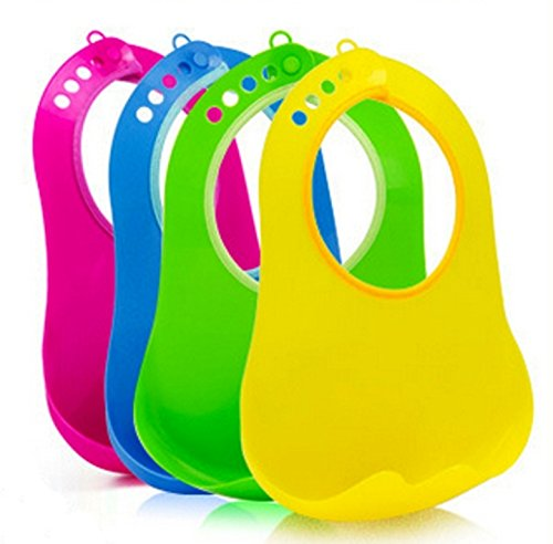 Soft Plastic Waterproof Baby Bib Lunch Bib for Boys and Girls with Crumb Pouch - 1