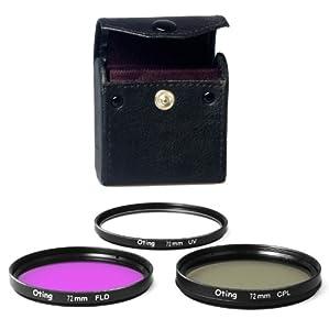 Set de 3 filtres 72mm Haute définition (filtre UV, filtre Fluorescent, filtre Polarisant) pour CANON EOS 1100D 1000D 650D 600D 550D 500D 450D 400D 350D 300D 1D 5D 6D 7D 30D 60D