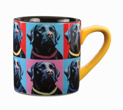 Paw Palettes Black Lab Woofhol Ceramic Mug, 16-Ounce front-430433