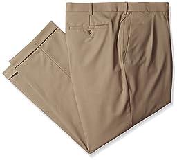 Louis Raphael Men\'s Big-Tall Luxe 100 Percent Wool Extension Dress Pant, Khaki, 56x30