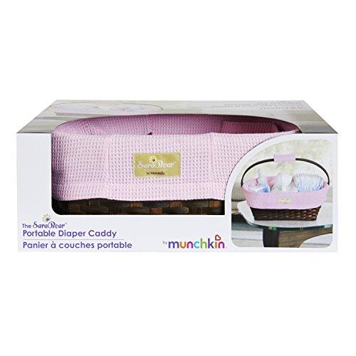 Munchkin Sarabear Portable Diaper Caddy, Pink Waffle