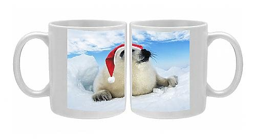 Photo Mug Of Harp Seal Baby - Lying On Ice, Wearing Christmas Hat From Ardea Wildlife Pets front-1058730
