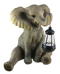 Cute African Elephant Porch / Garden Statue W/ Lantern