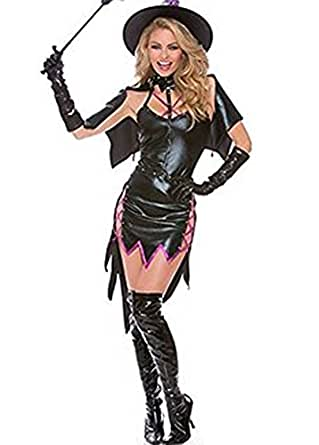 Fandecie Women's Halloween Sexy Black Dark Devil Fallen Angel Cosplay Costumes