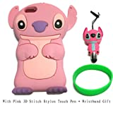 DE Cute 3D Cartoon Animal Series Apple iPhone 5C Case New Pink 3D Cartoon Stitch Movable Ear Shape Style Soft Silicone Rubber Case Protective Cover for Apple iPhone 5C