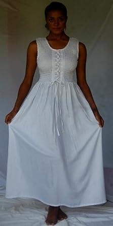 Lotustraders Dress Smocked Maxi Hippie No Sleeve OS L-2X White Q635S