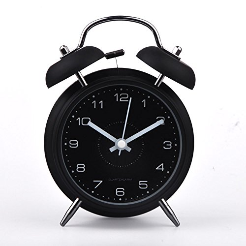 HITO™ 4 Silent Quartz Analog Twin Bell Alarm Clock w/ Nightlight and Loud Alarm (NO45)