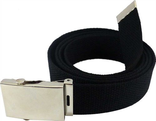 "Nice Shades 56"" Military Style Canvas Web Belt w/ Silver Roller Buckle (Black)"