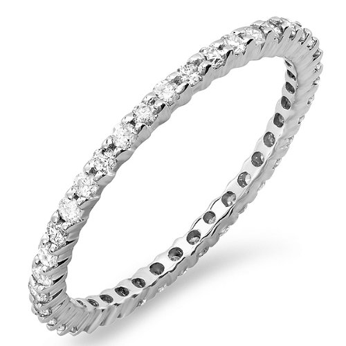 0.55 Carat (ctw) Dainty 1.5 mm 14k White Gold
