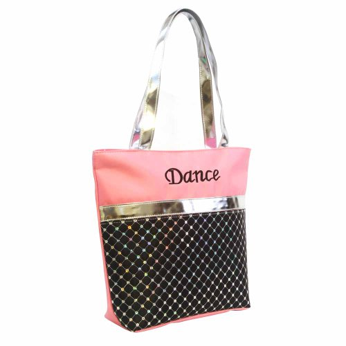 ecec25e0a75a Stylish Girls Kids Nylon Dance Tote Bag Laser Sequined Silver Metallic  Sequin (Light Pink). by 1 perfect choice