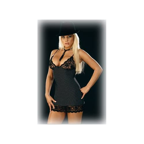 Sexy Costume for Girls: Hot Blondes Babes in Dreamgirl Womens Gangster Stripe Babydoll with Thong