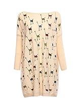 Hanson Woman Giraffe Print Oversized Slouch Fashion Jumper Pullover (Light Cream)