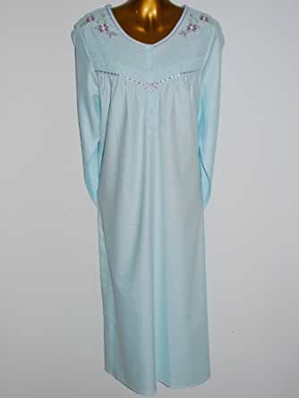 Ladies M&S Soft 100% Brushed Cotton Long Sleeved Spotted Nightdress Standard or Short Length Aqua / Lilac Sizes 8-10 12-14 16-18 20-22 (20-22 STANDARD)
