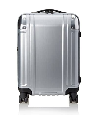ZERO Halliburton Geo Polycarbonate Carry On 4-Wheel Spinner Travel Case, Silver