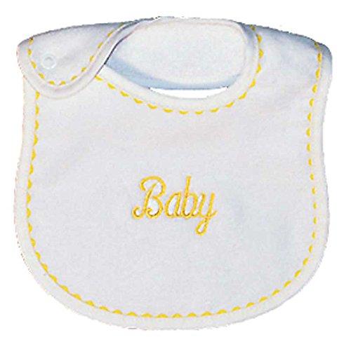 Raindrops Baby Embroidered Bib, Yellow